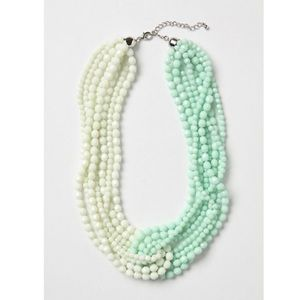 Anthropologie bead braided mint & cream necklace